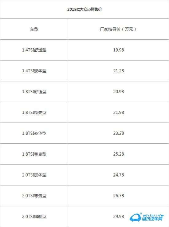 推荐2.0t豪华型 2015款大众迈腾购车手册
